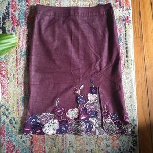 Detailed, Slit, Multicolored, Pencil Skirt